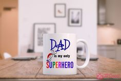 Dad is my Superhero - Fathers Day Printed Mug novelty Birds Birthday Xmas Gift Christmas Gift For Dad, Gifts For Dad, Christmas Gifts, Personalised Wall Stickers, Fathers Day Mugs, Vinyl Paper, My Superhero, Disney Winnie The Pooh, Jr
