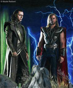 Thor and Loki (colour pencils) by Quelchii.deviantart.com on @deviantART