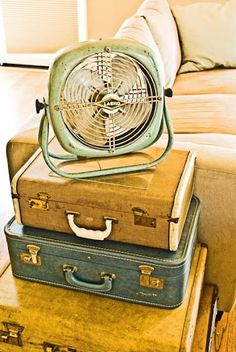 Vintage suitcase and fan