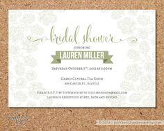 Bridal Shower Invitation  Sketched Floral Sage by ParkbenchPaperie