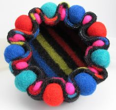 Felted Jewelry Tray Bowl Container Recycled Wool by mhandmade Felted Jewelry, Jewelry Tray, Jewellery, Felt Ball, Fabric Art, Wool Sweaters, Creative Inspiration, Hand Sewing, Hot Pink
