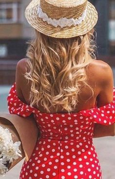 Re Perfect off the shoulder polka dot dress. This looks so romantic