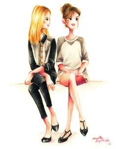 Front row girls fashion illustration from http://madmoizelle.com