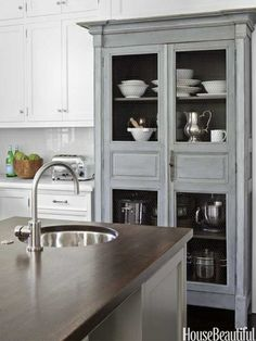 gray built-in hutch in kitchen---love!