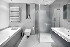 Love the grey tile but less of it:) Witte badkamer + grijze huis = perfecte combinatie Bathroom Design Tool, Bathroom Layout, Modern Bathroom Design, Bathroom Interior Design, Bathroom Kids, Bathroom Renos, Small Bathroom, Bathroom Things, Bad Inspiration