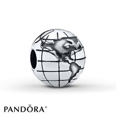 The seven continents are clearly marked on this realistic sterling silver globe clip from the PANDORA Fall 2013 charm collection. Style # 791182.