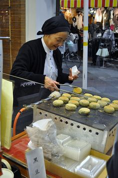 Japanese roasted mochi - Street Food in Japan.