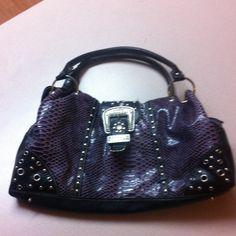 Purple and black purse Brand is Katydid. Great condition Katydid Bags Shoulder Bags