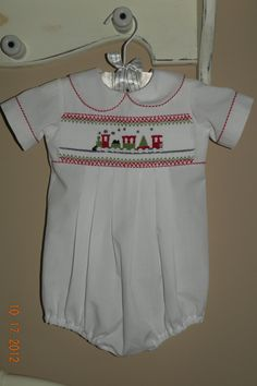 Baby Boy Hand Smocked Christmas Short all by TheSmockingGarden
