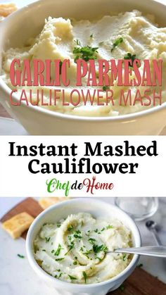 Parmesan Cauliflower, Mashed Cauliflower, Garlic Parmesan, Cauliflower Recipes, Keto Recipes, Cooking Recipes, Healthy Recipes, Lunches And Dinners, Meals
