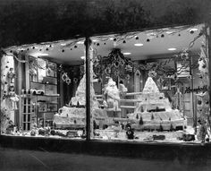 Vintage Christmas Photograph ~ Mountaintop Train Christmas window display from the Household Outfitting Company * Scranton, PA. * (You can click through to see an enlarged version of the photo. They show great detail. Christmas Store Displays, Vintage Store Displays, Christmas Window Display, Store Window Displays, Christmas Decorations, Christmas Windows, Vintage Stores, Display Window, Retail Displays