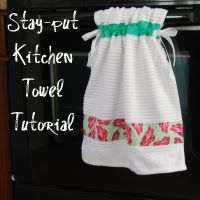 Tutorial Stay-put Kitchen Towel 1 kitchen towel, and be sure to prewash if it's new! three strips of fabric  2 yards coordinating ribbon for ties coordinating thread measuring tape rotary cutter, self-healing mat, and ruler sewing machine