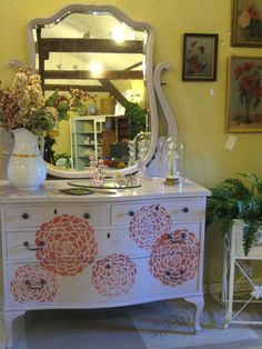 Antique Chest of Drawers given a whole new life:  painted with a mix of Pearl Plaster and Paloma Chalk Paint®