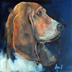 """Daily Paintworks - """"Hound Profile"""" - Original Fine Art for Sale - © Anne Marie Propst"""
