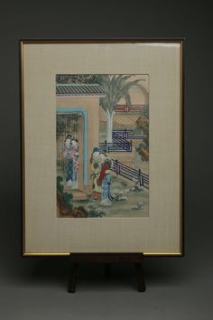 Vintage Chinese Painting on Silk, Figural Landscape, Couple in Garden, Framed