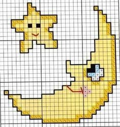 Nosso Ponto Cruz!: Lua e Estrela Beaded Cross Stitch, Cross Stitch Baby, Cross Stitch Charts, Cross Stitch Designs, Cross Stitch Embroidery, Cross Stitch Patterns, Pixel Crochet, C2c Crochet, Crochet Chart