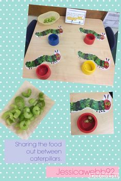 Sharing out the food between the caterpillars. Maths Eyfs, Eyfs Activities, Nursery Activities, Eyfs Classroom, Numeracy, Early Years Maths, Early Years Classroom, Early Math, Doubling And Halving