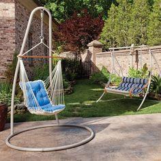 The Hammock Source Steel Single Swing Stand - Taupe Rope Hammock, Hammock Swing, Outdoor Spray Paint, Hatteras Hammocks, Single Swing, Patio Plans, Budget Patio, Backyard Furniture, Garden Seating