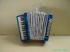 Blue Glass Accordion Christmas Tree Ornament Decoration hand made in Poland by ukbeadsonline on Etsy