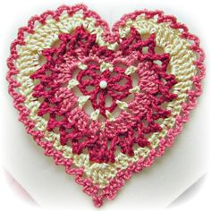 Valentine's Day Ornament crochet pattern from Heritage Heartcraft- Build-a-Heart, Lacy Crocheted Heart