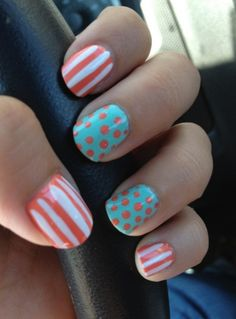 Dots and lines nail design
