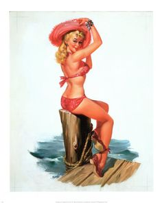 Pin-Up Girl in Pink Print