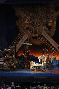 Chitty Chitty Bang Bang at Starlight Theatre by KC Starlight Theatre Huge fan of steam punk. I always enjoy the use of gears and such. Stage Set Design, Set Design Theatre, Theater, Theatre Stage, Bühnen Design, Scenic Design, Windmill, Costume Design, Dreams