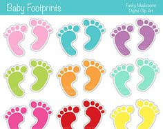 Popular Items For Foot Clipart On Etsy - Diy Crafts Baby Scrapbook, Scrapbook Paper Crafts, Scrapbook Cards, Fun Indoor Activities, Candy Labels, Birthday Candy, Baby Clip Art, Craft Stickers, Baby Footprints