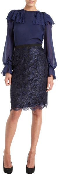 Perfect for the Office :: Navy Blue Prabal Gurung Lace Pencil Skirt :: Barneys Navy Lace, Blue Lace, Dress Skirt, Lace Skirt, Cocktail, Prabal Gurung, Dress Outfits, Midi Dresses, Designing Women