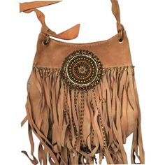 Pre-owned Fabulous Suede Fringe And Beaded Shoulder Bag ($400) ❤ liked on Polyvore featuring bags, handbags, shoulder bags, brown leather purse, fringe crossbody, leather tote handbags, leather crossbody purse and brown tote