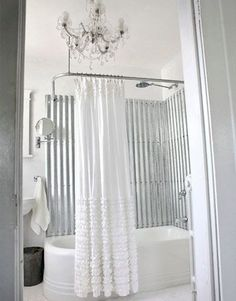 corrugated metal in the bathroom...