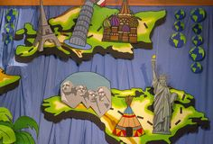 Feature the continents on your set in your main Assembly area at Vbs Themes, Classroom Themes, Party Themes, Chinese Theme Parties, The Great Race, Amazing Race, Vacation Bible School, Arts Ed, Girls Camp