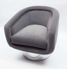 Leon Rosen; Chrome Base Swivel Chair for Pace, 1960s.