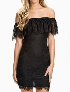 #fashion #accessories Alluring Eyelash Trim Off-Shoulder Lace Dress with Cut-Out Back   Black by Moda Tendone - Sexy Dress Black, Clothes, Fashionable, Sexy Dress, Women