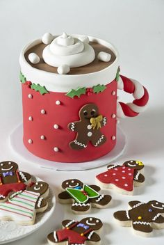 Hot Cocoa Mug Cake and Gingerbread Cookies by 3 Sweet Girls Cakery Christmas and Holiday Cookie Trays, Cupcakes, Cake Pops and cakes are unique and delicious at 3 Sweet Girls Cakery. Corporate Gifts are plentiful! Christmas Cake Designs, Christmas Cake Pops, Christmas Cake Decorations, Holiday Cupcakes, Christmas Sweets, Holiday Cookies, Christmas Baking, Holiday Pops, Simple Christmas