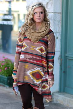 Rain Dances Tribal Tunic {Mocha Mix} | The Fair Lady Boutique