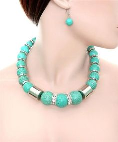 Chunky Heavy Turquoise Bead Necklace and Earring Set Fashion Costume Jewelry | eBay