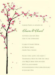 Cherry blossom Garden party invitations by wedding paper divas