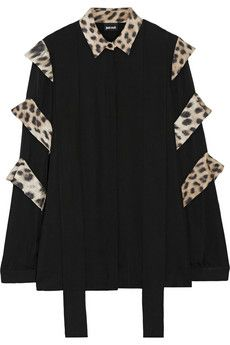 Just Cavalli Leopard-print trimmed silk top | THE OUTNET