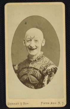 truly creepy clown - victorian era circus photograph.