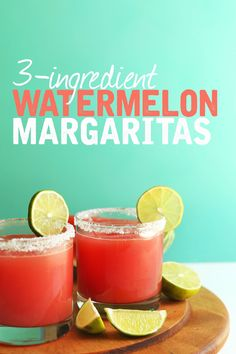 THE BEST Watermelon Margaritas | 3 ingredients! #vegan #margarita #watermelon…