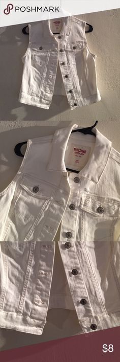 Mossimo White Denim Vest White denim vest with silver button closure and   Pocket details. Mossimo Supply Co Jackets & Coats Vests