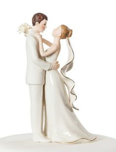 This beautiful ivory, fine porcelain wedding couple showcases the bride carrying a fine handmade bouquet, and gold trim on her veil and bouquet. A perfect compliment for your guestbook table, or to adorn the top of your wedding cake. Amazing Wedding Cakes, White Wedding Cakes, Wedding Cake Decorations, Wedding Cake Toppers, Wedding Centerpieces, Wedding Groom, Wedding Couples, Wedding Ideas, Wedding Desert