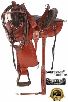 """No more saddle sores! This one is going to keep you riding for hours and hours! The seat is deep, very comfortable and extremely well padded. The saddle features a rounded skirt that is excellent for short backed horses. The basket weave tooling, padded stirrups and numerous ties give style and class to this saddle. The numerous """"O"""" rings are excellent for all of your accessories. In-skirt rigging and nylon reinforced leather cinch straps provide extra security and strength."""