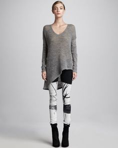 Ribbed Knit Pullover & Printed Skinny Jeans by HELMUT at Bergdorf Goodman. Printed Skinny Jeans, Outfit Combinations, Long Tops, Helmut Lang, Casual Looks, Autumn Winter Fashion, Pullover Sweaters, Clothes For Women, My Style