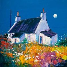 Signed limited edition prints and art prints by British artist John Lowrie Morrison (Jolomo) at the Red Rag British Art Gallery Landscape Art, Landscape Paintings, Landscapes, Cottage Art, Naive Art, Art Techniques, Painting Inspiration, Framed Art Prints, Watercolor Art