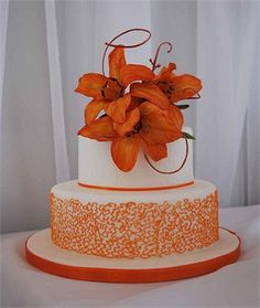 Stunning colours and designs - two tier white wedding cake with orange detailing and orange flower cake topper Wedding Sheet Cakes, Fall Wedding Cakes, Wedding Ideas, Flower Cake Decorations, Flower Cake Toppers, Pretty Cakes, Beautiful Cakes, Fall Cakes, Dream Cake