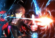 Most popular tags for this image include: bow, flame, light, pixiv and blue & red