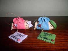 Baby's first Christmas Ornaments from polymer clay