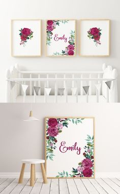 ☆ A Beautiful Nursery Decor Set of 3 Watercolor Flowers for Your Little Girl. Nursery Wall Decor, Room Decor, Personalized Wall Decor, Pink Tulle, Red Flowers, Watercolor Flowers, Printables, Spring, Baby